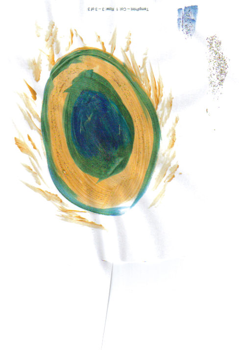 Painted peacock feather