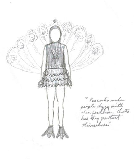Peacock costume rendering