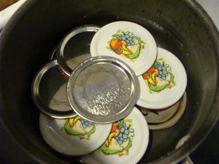 Canning lids staggered in pot