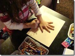 drawing around hand for bush