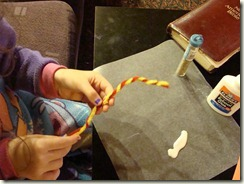 twisting the pipe cleaners
