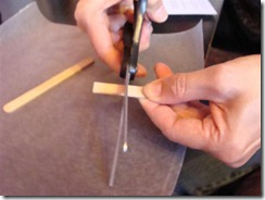 cutting the popsicle stick