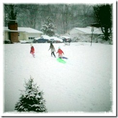 sledding with andy's girls