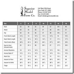 superior dressform size chart