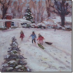 painting of sledding