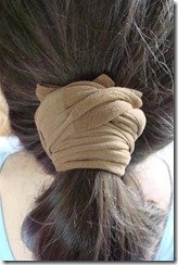 wrap ponytail with knee highs