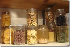 various foods in jars