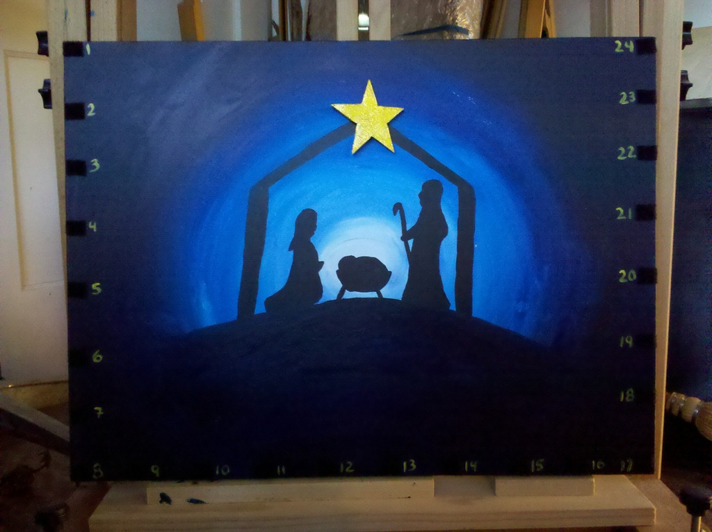 Nativity Silhouette Painting With Star