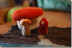 felted gnomes with mushroom
