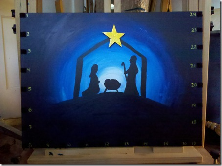 nativity silhouette painting with star.