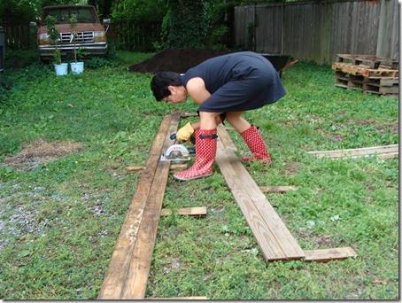 pallet sides being sawed in half (Medium)